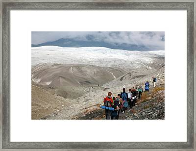 Hiking Trip To A Glacier Framed Print by Jim West