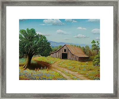 Framed Print featuring the painting Hill Country Barn   by Gene Gregory