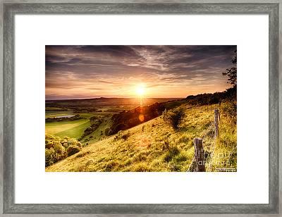 Hill Fence Sunset Framed Print