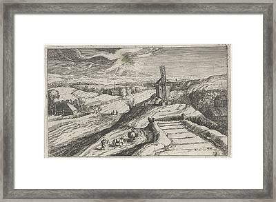 Hill Landscape With A Windmill, Josse Van Liere Framed Print