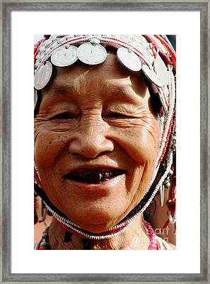 Framed Print featuring the photograph Hill Tribe Smile by Nola Lee Kelsey