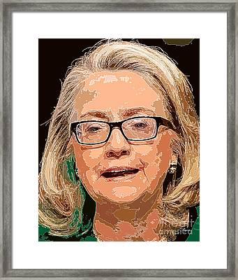 Hillary Clinton Portrait Framed Print by Dalon Ryan