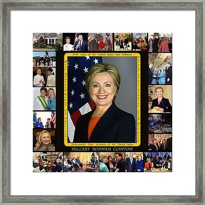 Hillary Rodham Clinton        Framed Print by James William Allen