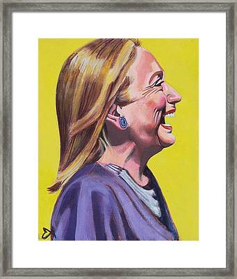 Hillary Rodham Clinton Portrait Laughing Framed Print