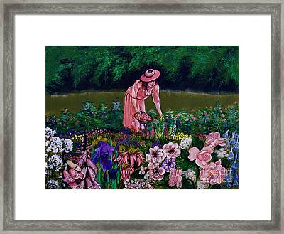 Hillary's Garden Framed Print by Linda Simon