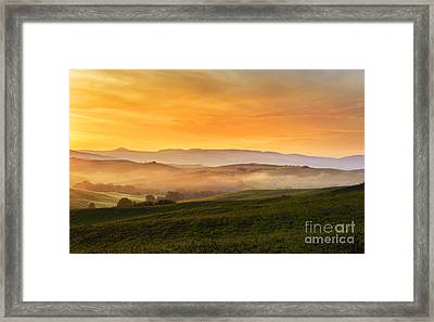 Hills And Fog Framed Print