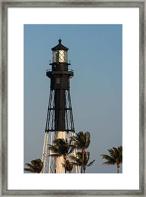Hillsboro Inlet Lighthouse In The Evening Framed Print by Ed Gleichman