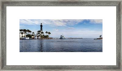 Hillsboro Inlet Lighthouse Panorama Framed Print by Lynn Palmer