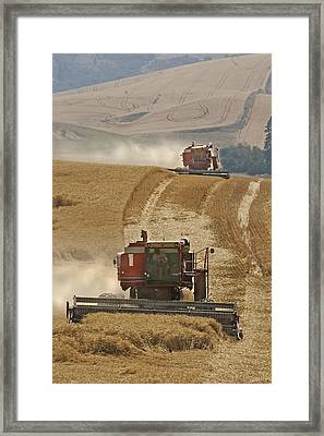 Hillside Combines Framed Print by Latah Trail Foundation