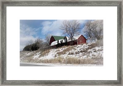 Hillside Farm In Winter Framed Print by Kay Novy