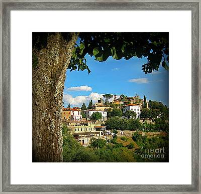 Hillside Tuscan Village  Framed Print