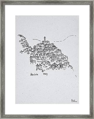 Hilltop Town Of Abricale, Italy Framed Print