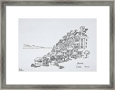 Hilltop Village Of Nonza, Corsica Framed Print