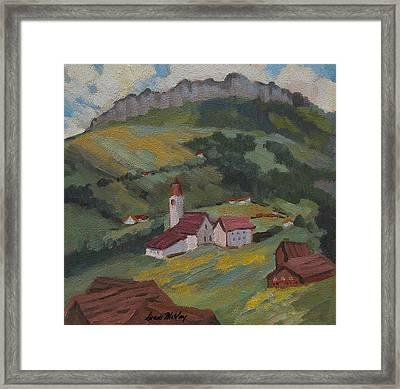 Hilltop Village Switzerland Framed Print