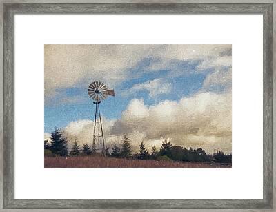 Hilltop Windmill Framed Print by John K Woodruff