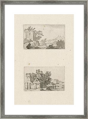 Hilly Landscape With Ruins And A Farm In The Hills Framed Print by Gillis Van Scheyndel (i)