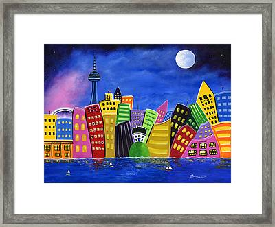 Hilly Meets High-rise Harbour Framed Print by Brianna Mulvale