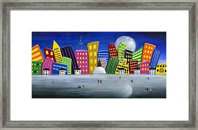Hilly Meets Holiday Harbour Framed Print by Brianna Mulvale