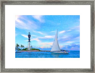 Hilsboro Lighthouse Colored Pencil Framed Print by Michael  Wolf
