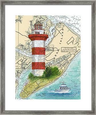 Hilton Head Island Lighthouse Sc Nautical Chart Map Art Cathy Peek Framed Print