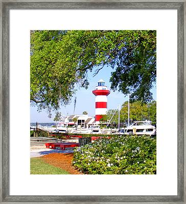 Hilton Head Lighthouse And Marina Framed Print