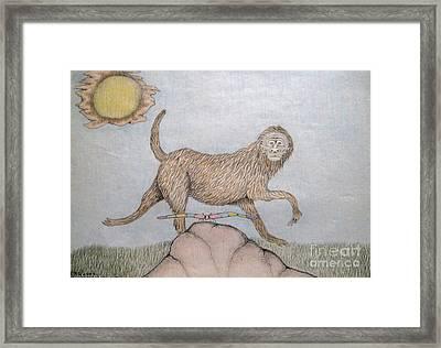 Himalaya Monkey Dragonfly Encounter Framed Print by Elizabeth Stedman