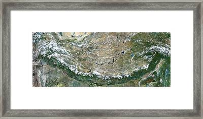 Himalaya Mountains Asia True Colour Satellite Image  Framed Print by Anonymous