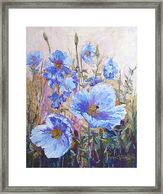 Himalayan Blue Poppies Framed Print by Karen Mattson
