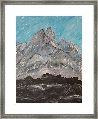 Framed Print featuring the painting Himalayas by Martin Blakeley