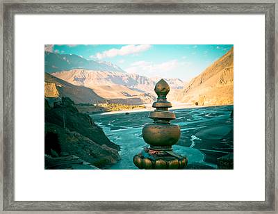 Himalayas Road To Upper Mustang  From Kagbeni Framed Print by Raimond Klavins