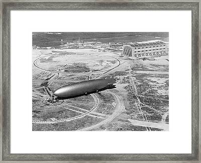 Hindenburg Airship At Nas Lakehurst Framed Print by Us Navy