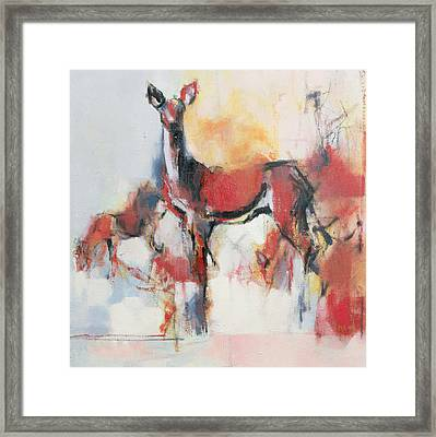 Hinds In Winter Framed Print