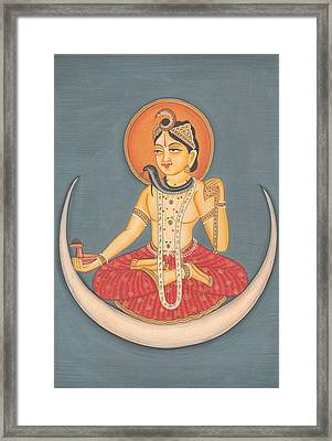 Hindu God Shiva Shankar Moon Miniature Artwork Painting India Yoga  Framed Print by A K Mundhra