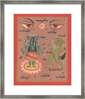 Hindu Goddess Durga Demon Madhu Eyes Of India Mysterious Artwork Painting United Kingdom  Framed Print by A K Mundhra