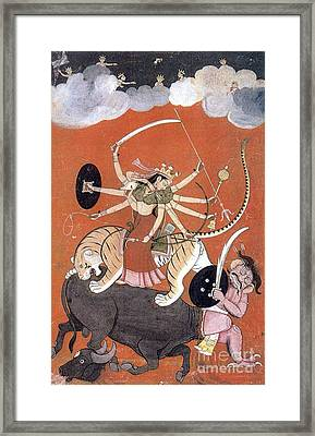 Hindu Goddess Durga Fights Mahishasur Framed Print by Photo Researchers
