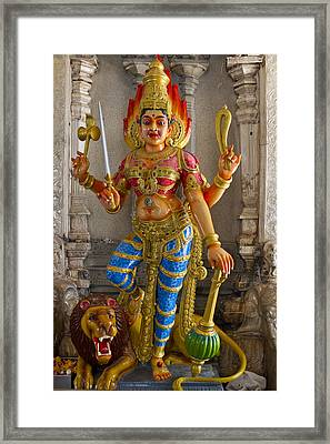 Hindu Goddess Durga On Lion Framed Print by David Gn
