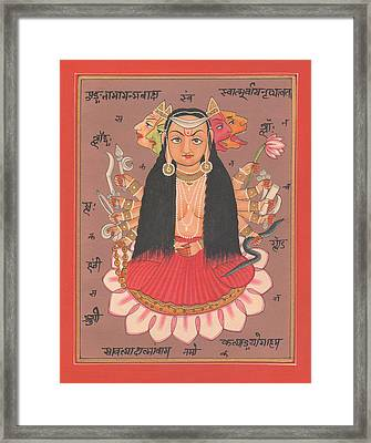 Hindu Goddess Durga Vishvarupam Miniature Painting Handmade Artwork Artist Art Gallery Water Color I Framed Print by A K Mundhra
