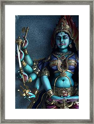 Hindu Goddess Kali On Hindu Temple Framed Print by Carl Purcell