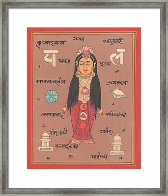 Hindu Goddess Of Welth Laxmi Artwork Painting Watercolor Germany  Framed Print