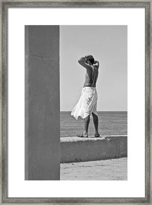 Hindu Priest Homage To Sun And Arabian Framed Print by Kantilal Patel