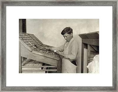 Hine Typesetting, 1917 Framed Print by Granger