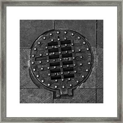 Hinged Manhole Cover Framed Print by Lynn Palmer