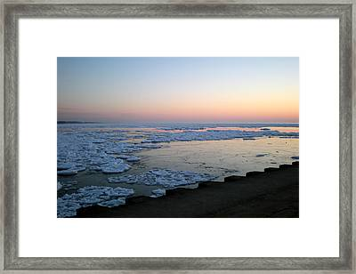 Framed Print featuring the photograph Hints Of Spring South Haven Pier by Penny Hunt