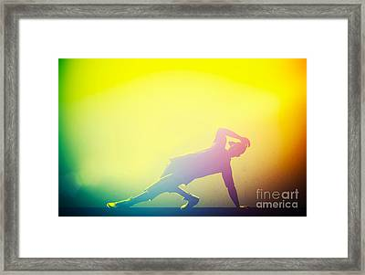 Hip Hop Break Dance Performed By Young Man In Colorful Club Lights Framed Print by Michal Bednarek