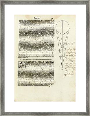 Hipparchus In Ptolemy's Almagest (1515) Framed Print by Library Of Congress