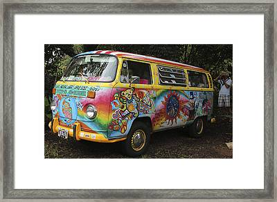 Vintage 1960's Vw Hippie Bus Framed Print by Venetia Featherstone-Witty