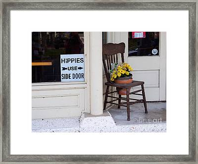 Hippies Use Side Door Framed Print