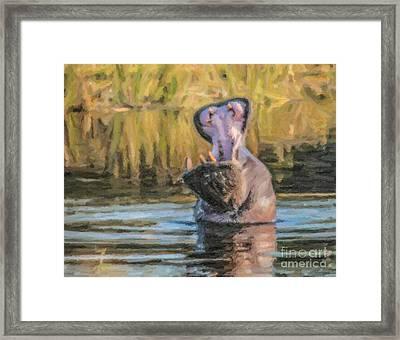 Hippo Threat Framed Print