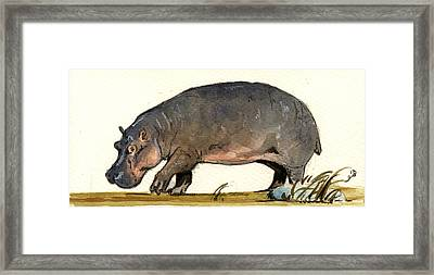Hippo Walk Framed Print by Juan  Bosco