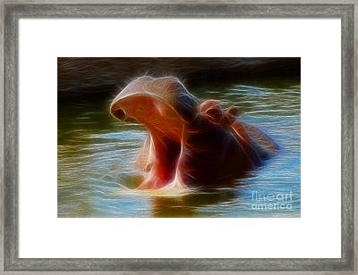 Hippo Yawn Fractal Framed Print by Gary Gingrich Galleries